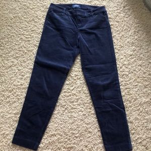 Mid rise pixie blue velvet business pants